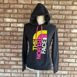 The North Face Black Hoodie Yellow Pink Logo - S